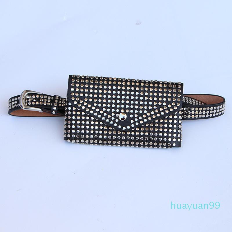 Paquete de la cintura Fanny New-cintura Pequeño bolso Mujer Teléfono Phone Bolsa Cinturón Paquete Punk Pole Purse Hujlm