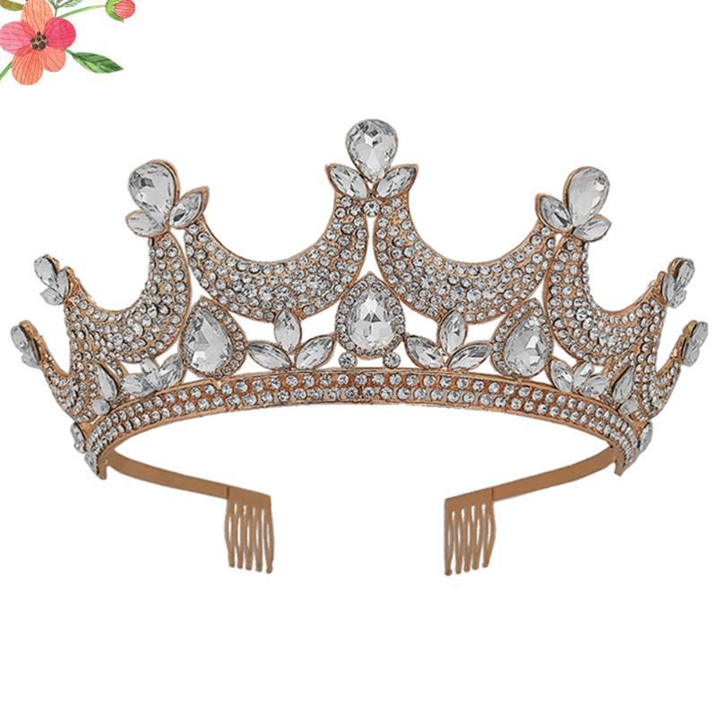 Kreative Brautkrone Empfindliche Haar Crown Schöne Haar-Band-Kristallbrautkopfbedeckung für Hochzeit (goldene)