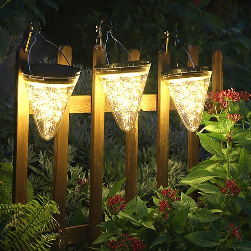 Висячие Солнечный свет Открытый солнечной энергии Водонепроницаемый Пейзаж фонариков со стеклом для патио двор сада и Pathway украшения