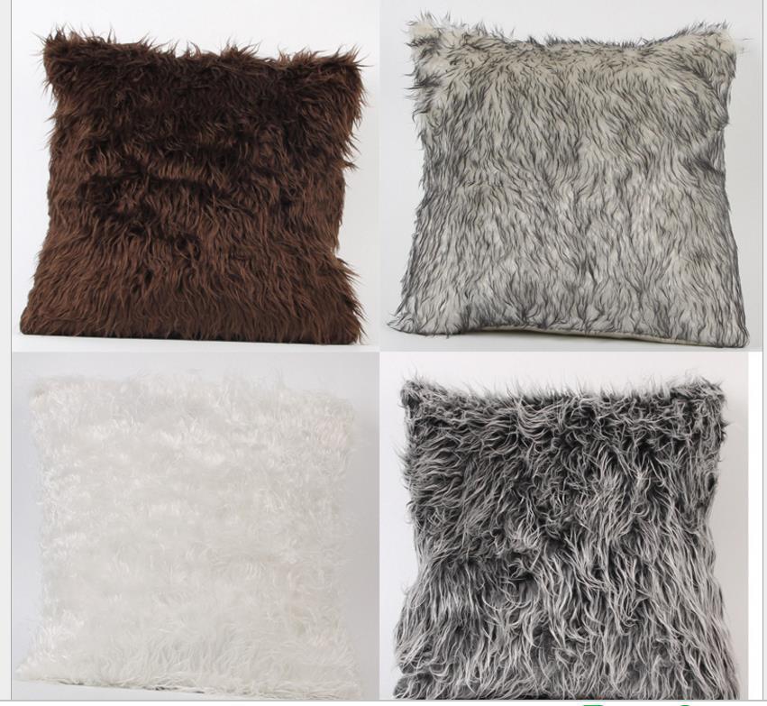 Europäischer Plüsch Pillowcase Fluffy Büro-Sofa-Kissenbezug Mode weiche Kissen Home Decoration 4 Styles 45 zur Auswahl * 45cm LDH89