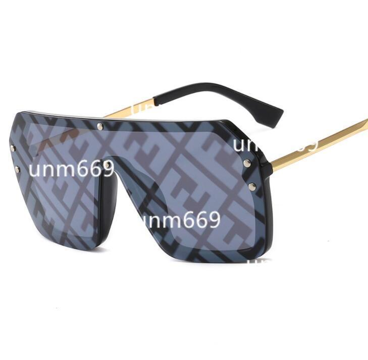 FENDI Glasses sunglasses  مع F رسالة قطعة واحدة ساحة نظارات شمسية نسائية المتضخم الكبير خمر نظارات شمسية للرجال الشعبية شقة الأعلى حملق نظارات UV400