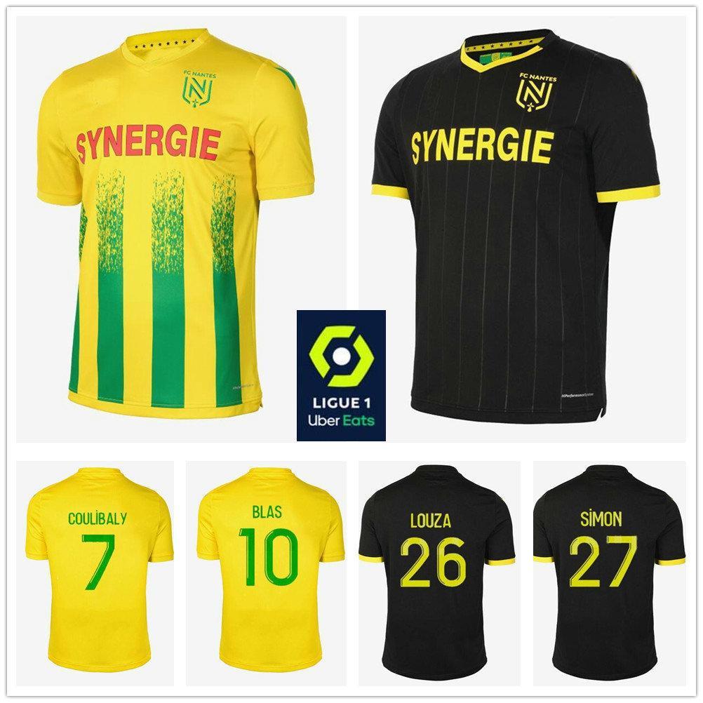 20 21 FC Nantes Futbol Jersey 10 BLAS 7 COULIBALY SIMON Louza A TOURE COCO Custom 2020 Yetişkin Çocuk Sarı Siyah Futbol Gömlek