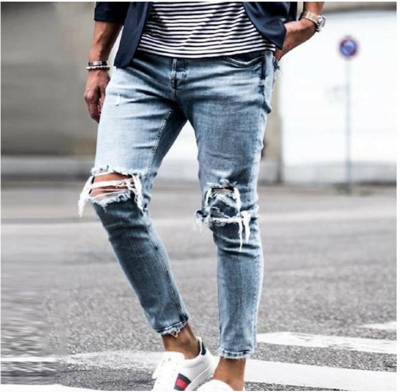 Denim Kalem Pantolon Casual Uzun Orta Bel Tok Renk Erkek Kot Delikler Tasarımcı Erkekler Jeans İnce Mens