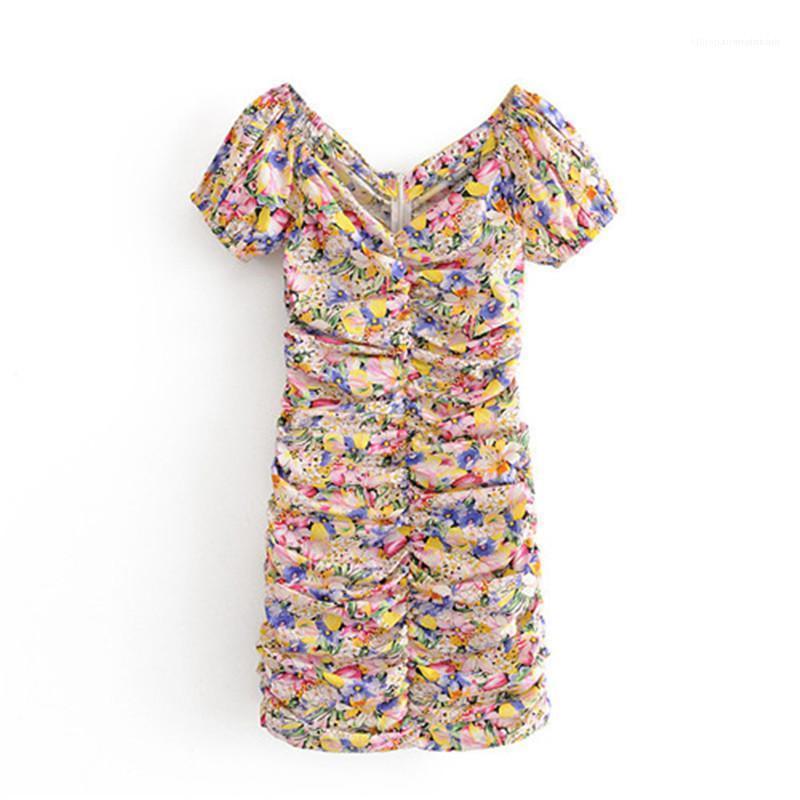 Short Sleeve Mode Kleider Street Style Damenmode Sommer-Frauen der beiläufigen Kleider Flora Printed V-Ausschnitt