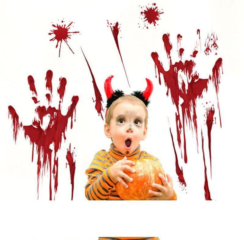 Хэллоуин дверь Windown наклейка Bloody дактилоскопического Blooding Handprint Табличка ужасен стикер стены Плакат для украшения дома партии