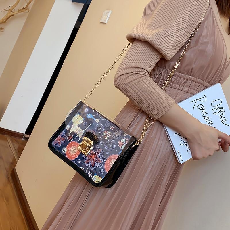 5E5tP Transparent kleine tou ming bao Frauen für Frauen 2019 neue moderne koreanische Art Allgleiches c Graffiti Schulter diagonaler Beutel der Frauen