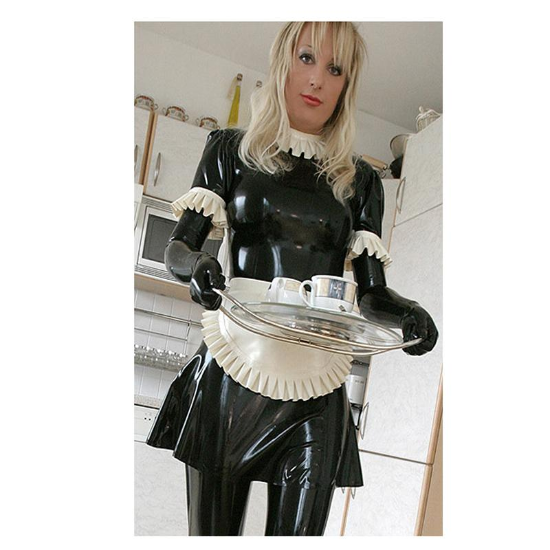 Women Leather French Maid Fancy Dress Costume Outfit Hen Party Stocking Cosplay