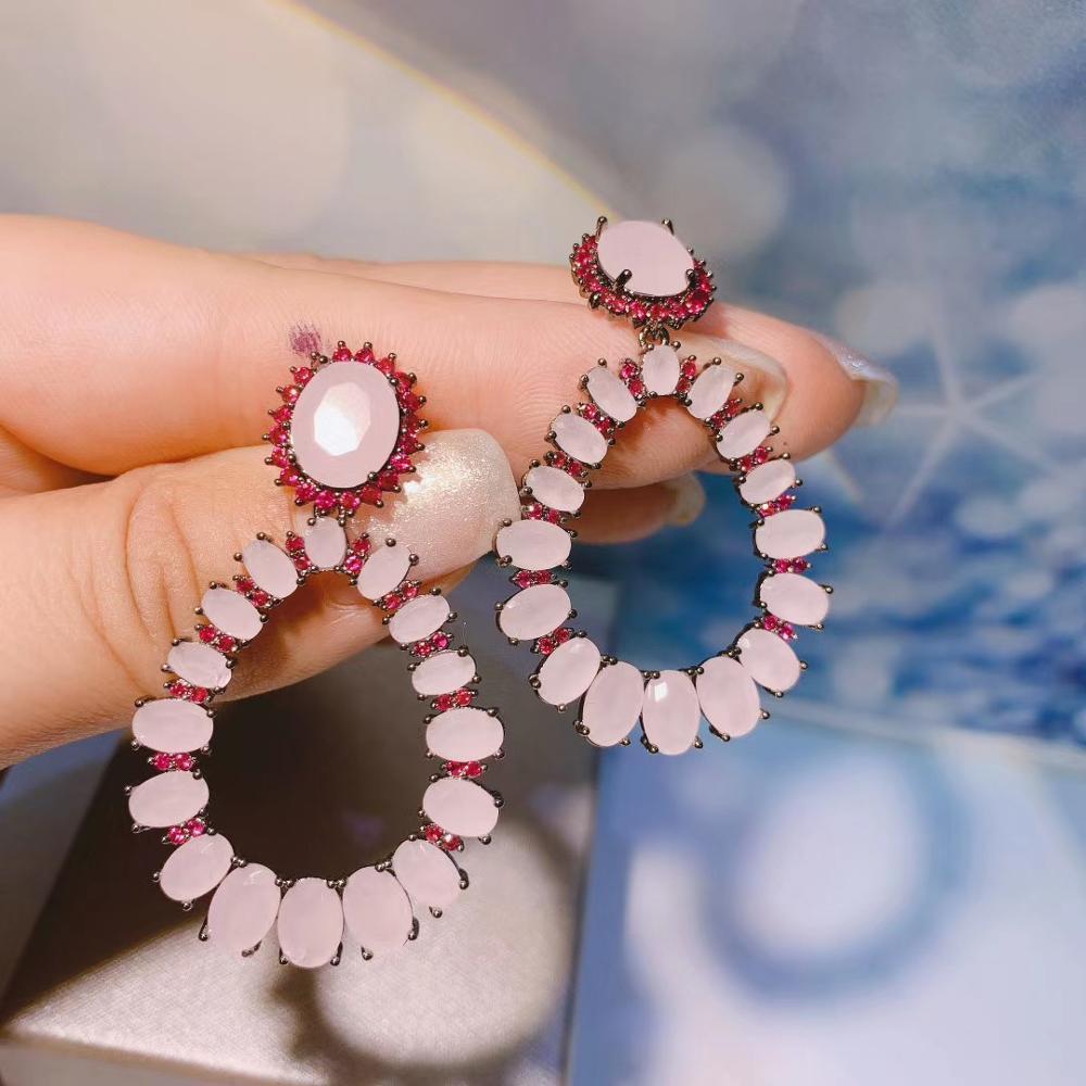 E6448 La nueva joyería de circón Pendientes oro blanco-color de rosa caliente circón cúbico austríaco Rhinestone gota de la flor de la boda pendiente de la moda