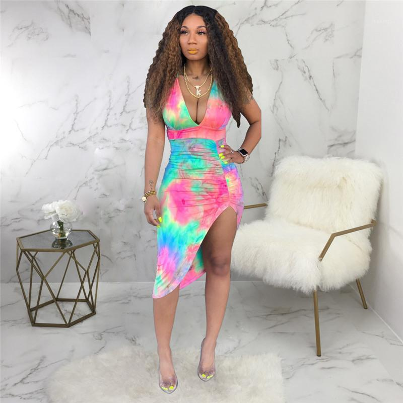 Print Designer Designer Robe drapée sans manches Skinny Ladies Night Club Robes Femme Vêtements sexy dos nu coloré