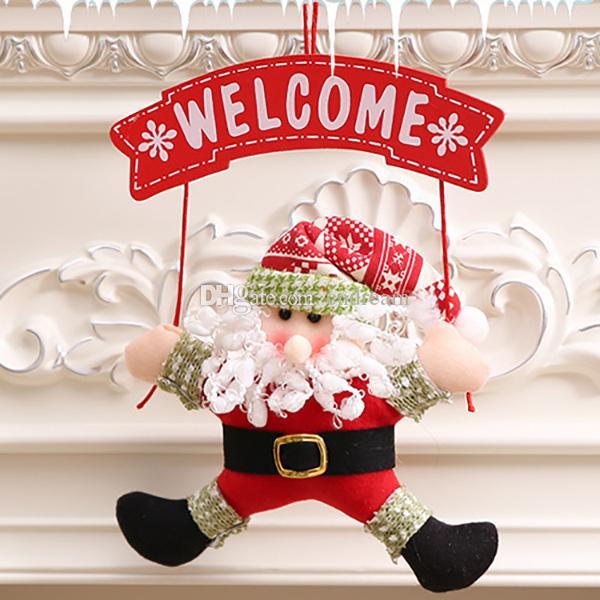 Welcome Santa Snowman porch hangs Christmas Decorations cartoon figures Christmas door hang wreath Fextive Home decor drop ship