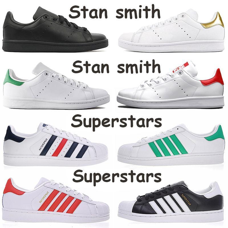 أحذية stan smith Superstars الأزياء الفاخرة 2020 المدربين الجلود الرجال النساء عارضة منصة المصممين أحذية الأبيض الأسود الشقق مصمم أحذية رياضية
