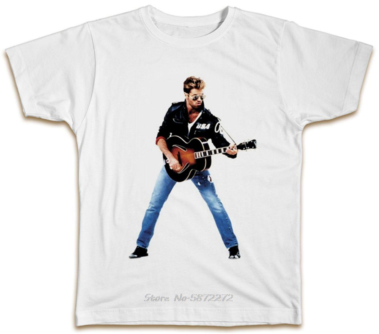 George Michael Chitarra T shirt retrò Vintage Summer Music Wham maglietta regalo maglietta casuale Stampa Moda Tees Hip Hop