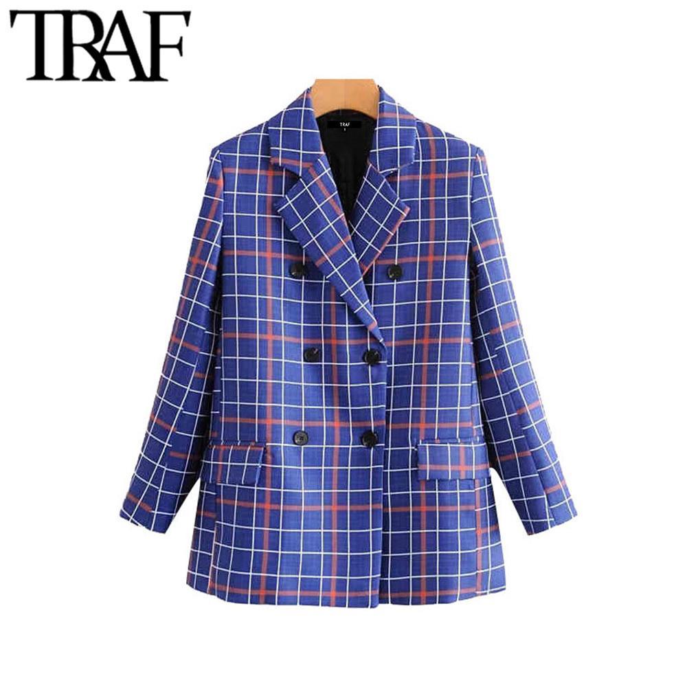 Escudo TRAF Las mujeres con estilo de la vendimia doble de pecho chaqueta de la manera de la tela escocesa de manga larga bolsillos desgaste de la oficina Mujer de abrigo elegante Tops CX200819