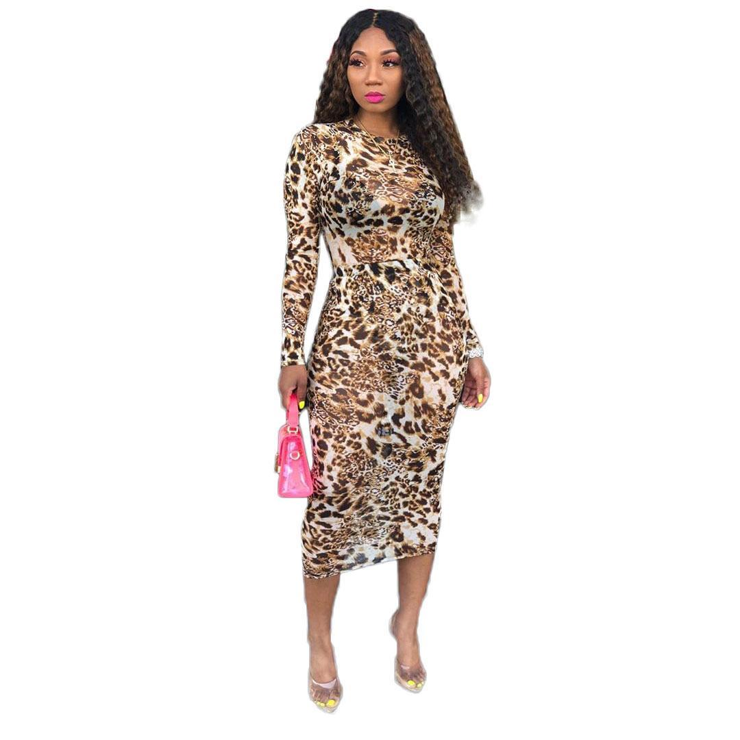 فستان المرأة ليوبارد كم طويل الرقبة الطاقم سليم صالح شبكة فساتين عادية السيدات الازياء والملابس