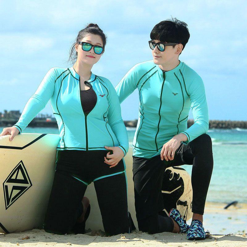 5pcs / set de las mujeres más el tamaño sólido camisa UPF 50+ Bañadores polainas activo Rashguard Tops Bottoms Parejas trajes de baño Surf 5XL