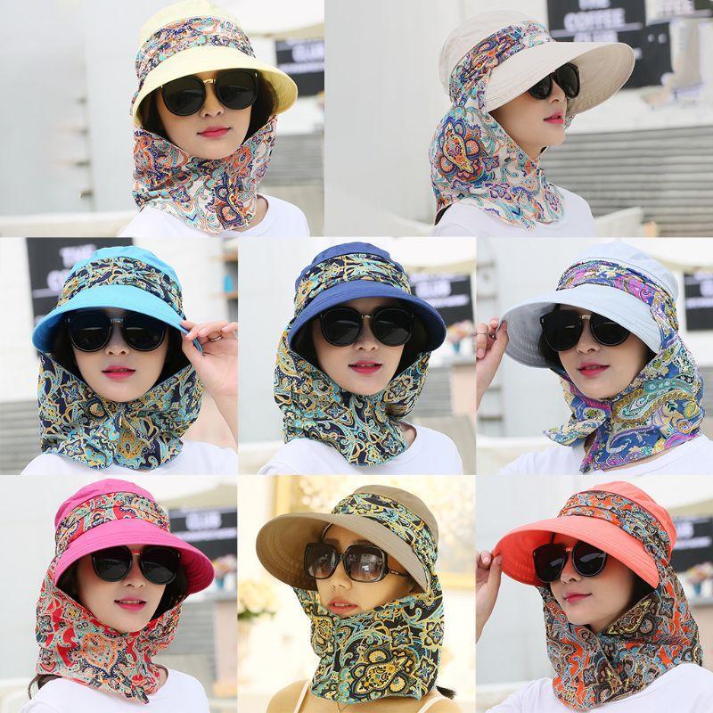 Женщины Съемные шаль Пустой Top Солнцезащитный козырек Hat Складная UV защиты пляжа Cap