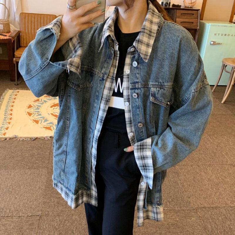 2019 Automne Nouveau style coréen surpiqures cravate à carreaux lâche manteau en jean à manches long manteau ins vêtements pour femmes à la mode