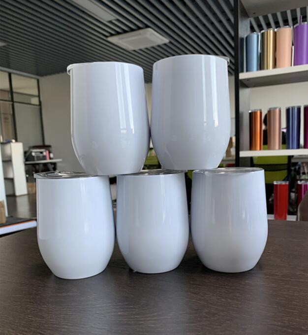 12oz Blank Sublimation Wine Tumblers Egg Shaped Wine Glass Double Wall Mugs Stainless Steel Tumblers with Lid Sea Shipping CCA12437 100pcs