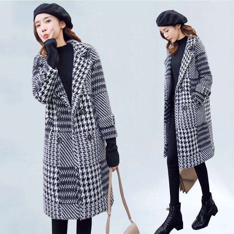 Yüksek Kalite Yün Coat Kadınlar 2020 Sonbahar Kış Ceket Dış Giyim Ekose Sıcak Orta Uzun İmitasyon Vizon Coats Kadın Temel Coat