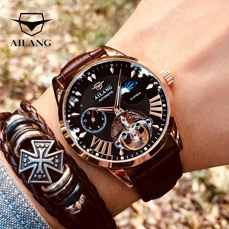 Aialang Quality Tourbillon Uomo Guarda Uomo Uomo Moon Fase Automatico Swiss Diesel Orologi meccanici Transparent Steampunk Clock T200812