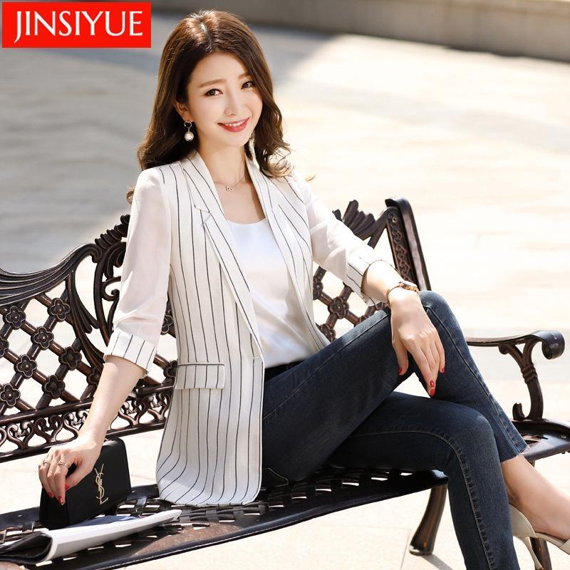 mDa1F Frauen-Mittellange gestreifter kleine Jacke Jackenklage der neuen koreanische Art und Weise beiläufigen dünnes Frühjahr / Sommer 2020 im britischen Stil Anzug