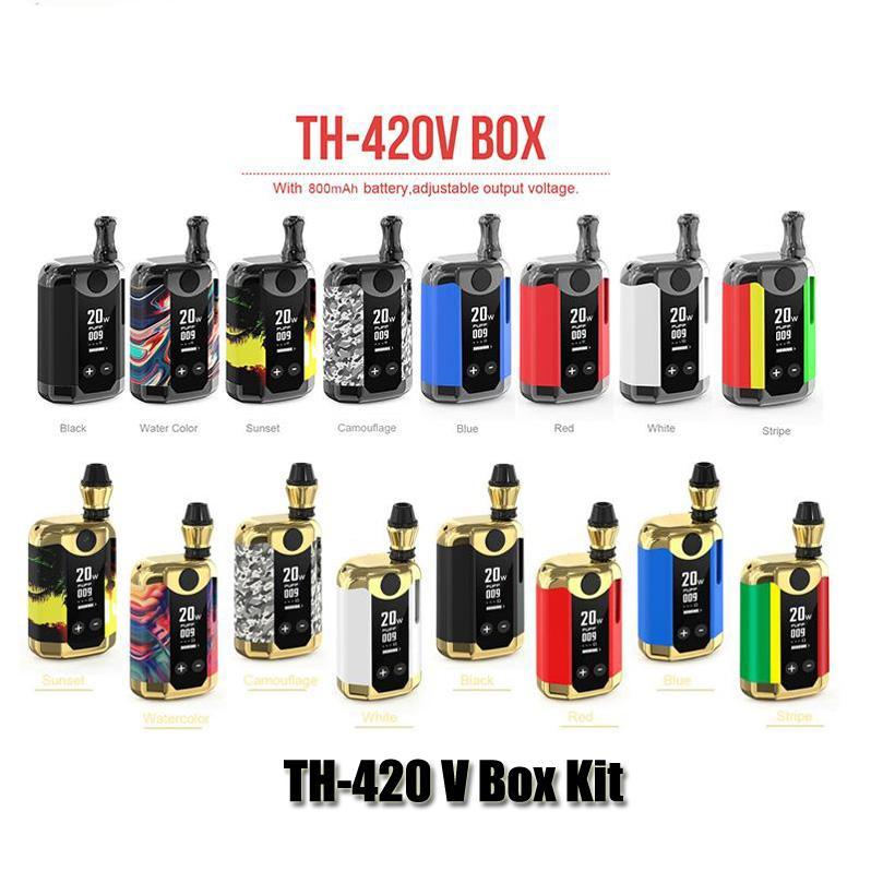 Authentique Kangvape TH-420 V Boîte Kit 800mAh variable Tension Wattage Préchauffez VV Batterie Mod 0,5ml huile épaisse cartouche d'origine