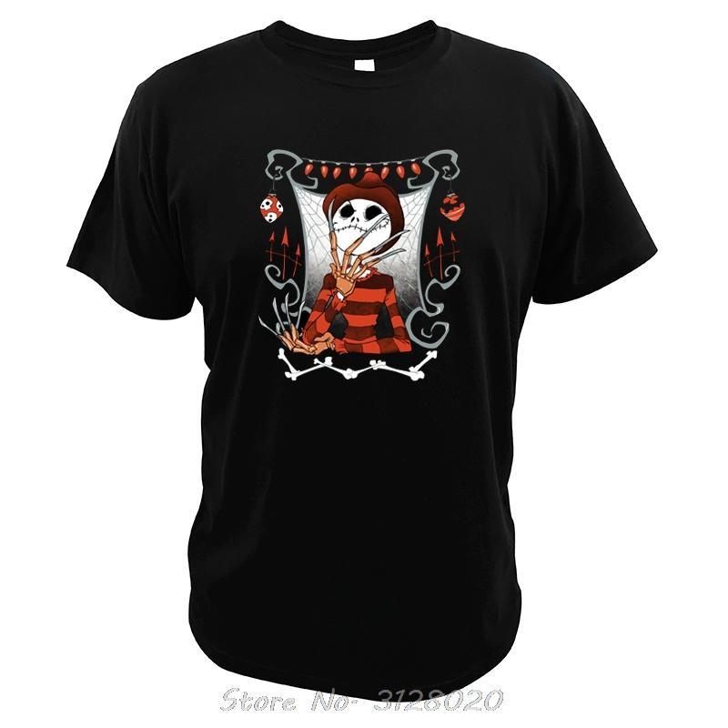 Jack rotolamento T-shirt teschio Famouse film Raffreddare Dgital Stampa Tees The Nightmare Before Christmas uomini della maglietta cotone Tshirt