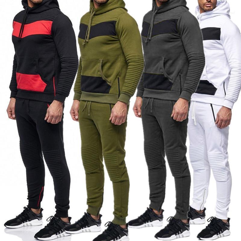 Manches longues longues Pantalons Hommes 2PCS Ensembles hommes Vêtements décontractés Deux Couleurs lambrissé Mens Designer Survêtements Fashion Stripe capuche
