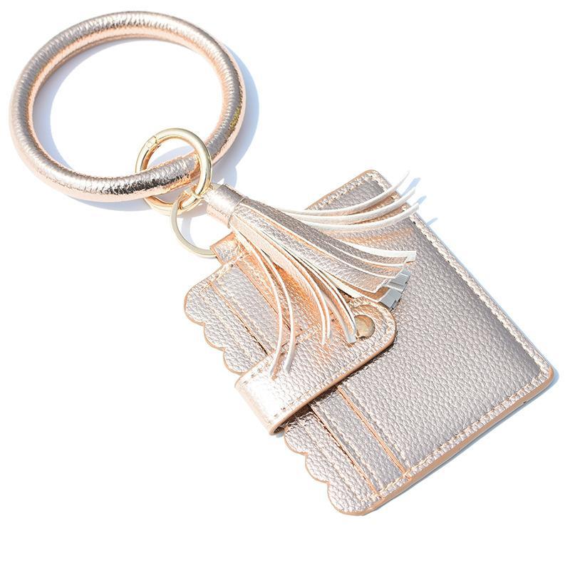 12styles Bilezik Çanta Anahtarlık Kadınlar Püsküller Bilezikler PU Deri Wrap Anahtarlık Bileklik Wristlets Sikke Çantalar Kart Sahibi Takı GGA3634-1