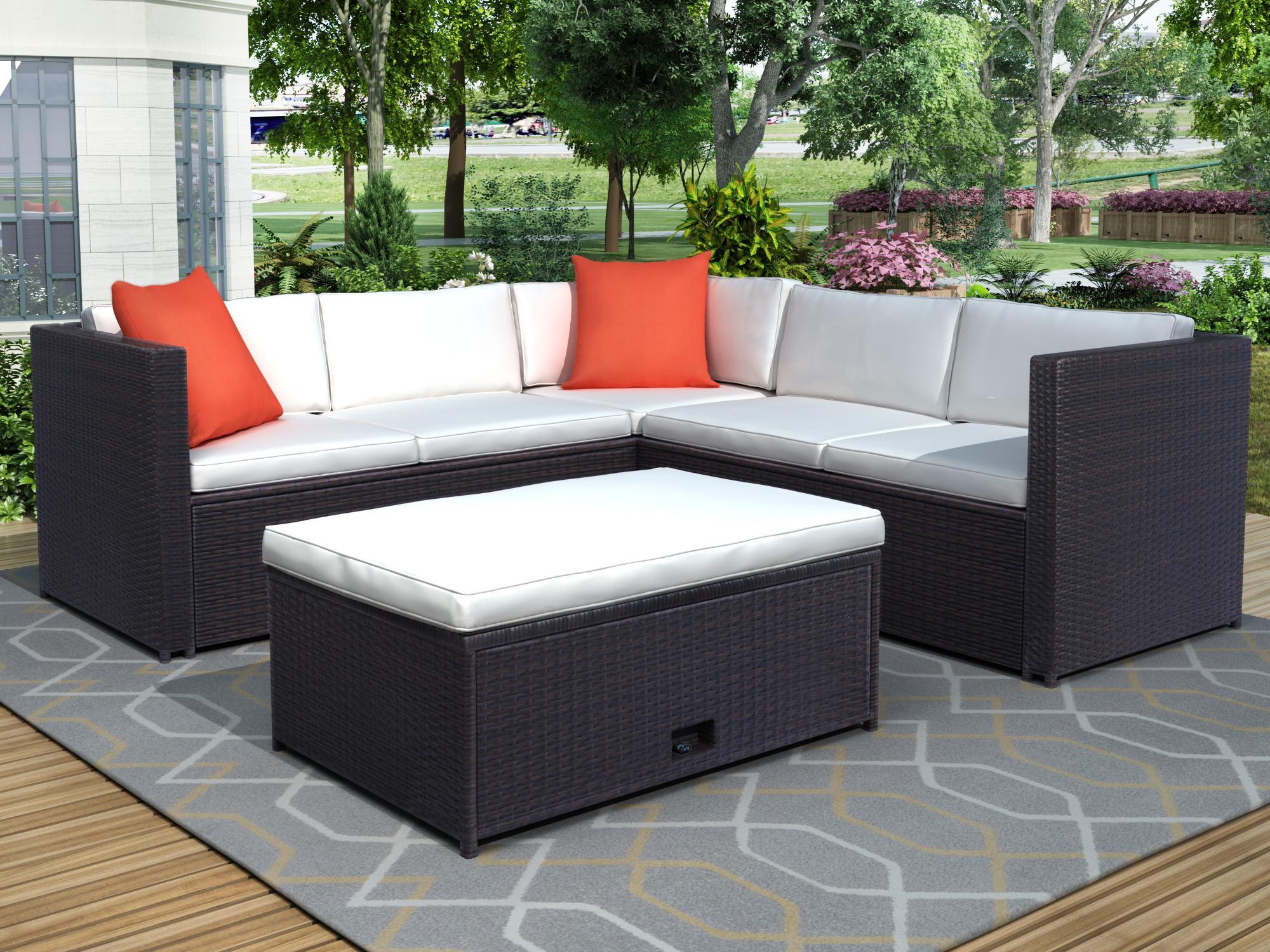 3-5 Tage Versand 4 Stück Gepolsterte Outdoor-Terrasse PE Rattan-Möbel Set Sektional Garten-Sofa mit braunem Rattanbeige-Kissen Sh000026AAA