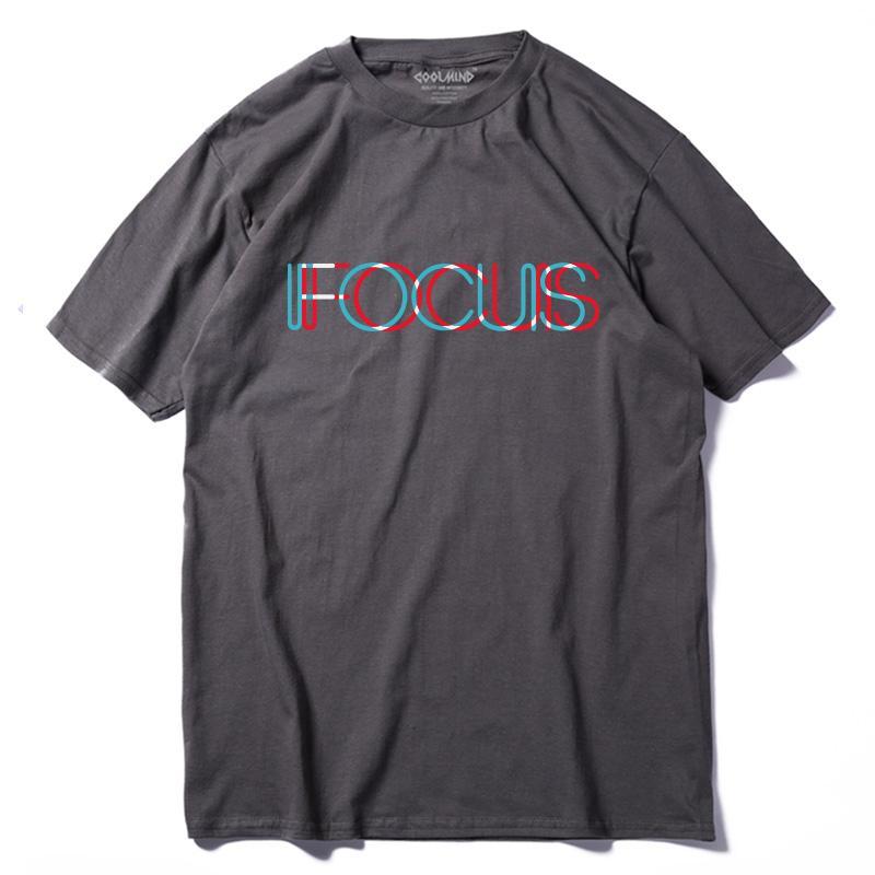 COOLMIND QI0231A occasionnel été T-shirt loose pour les hommes 100% tees tops à manches courtes en coton imprimé fucus hommes T-shirt drôle