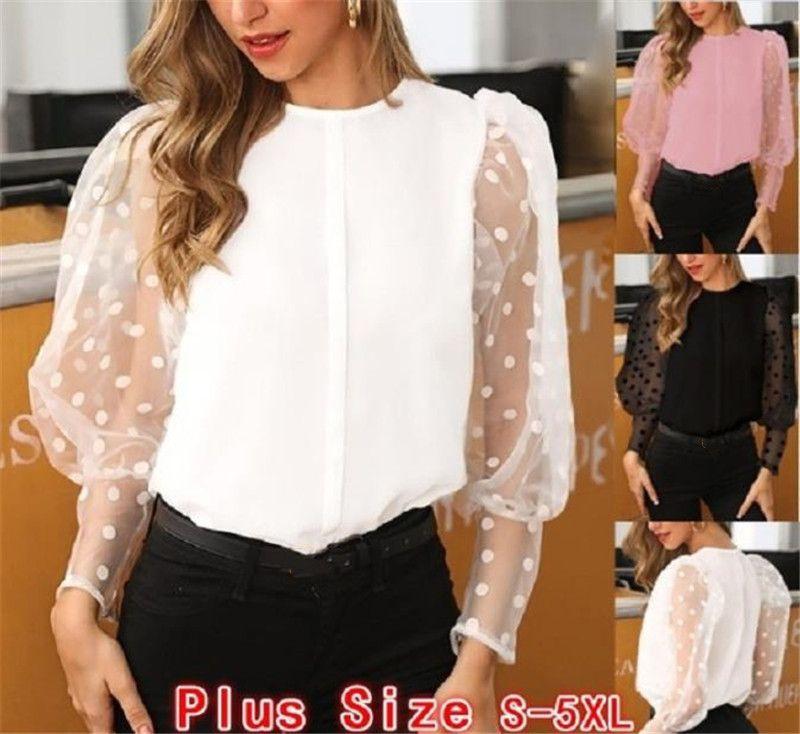 Polka-Punkt-Spitze-Frauen Bluse Fashion Solid Color Mesh-Laterne-Hülsen-Bluse Tops Frauen Designerkleidung für 2020