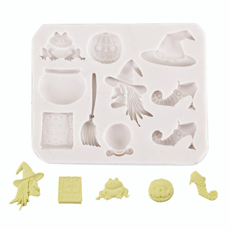 DIY Cake Mold Halloween Witch Bat Pumpkin Hats Fondant Silicone Mold Liquid Silicone Soft Clay Decoration Factory