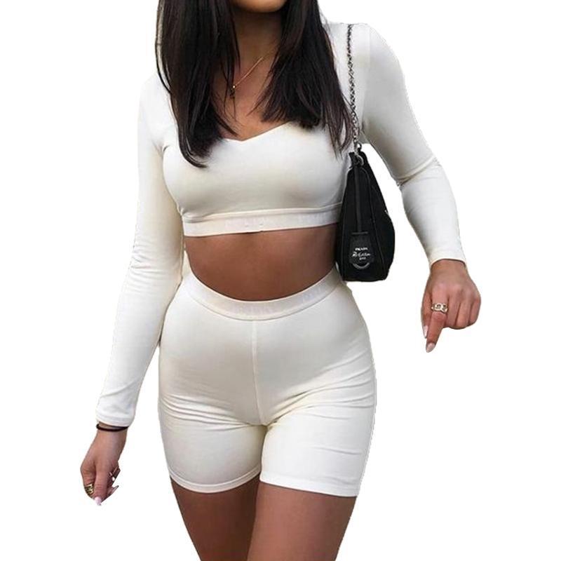 Sport Deux Piece Femmes Set Fashion Square Couleur unie Collier Exposed Nombril Top et cuissard