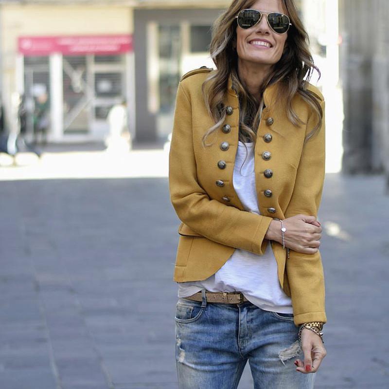 Femmes Blazer Manteau Mode naturel Couleur Slim Blazer Manteau Casual manches longues double boutonnage Vestes Vêtements femme