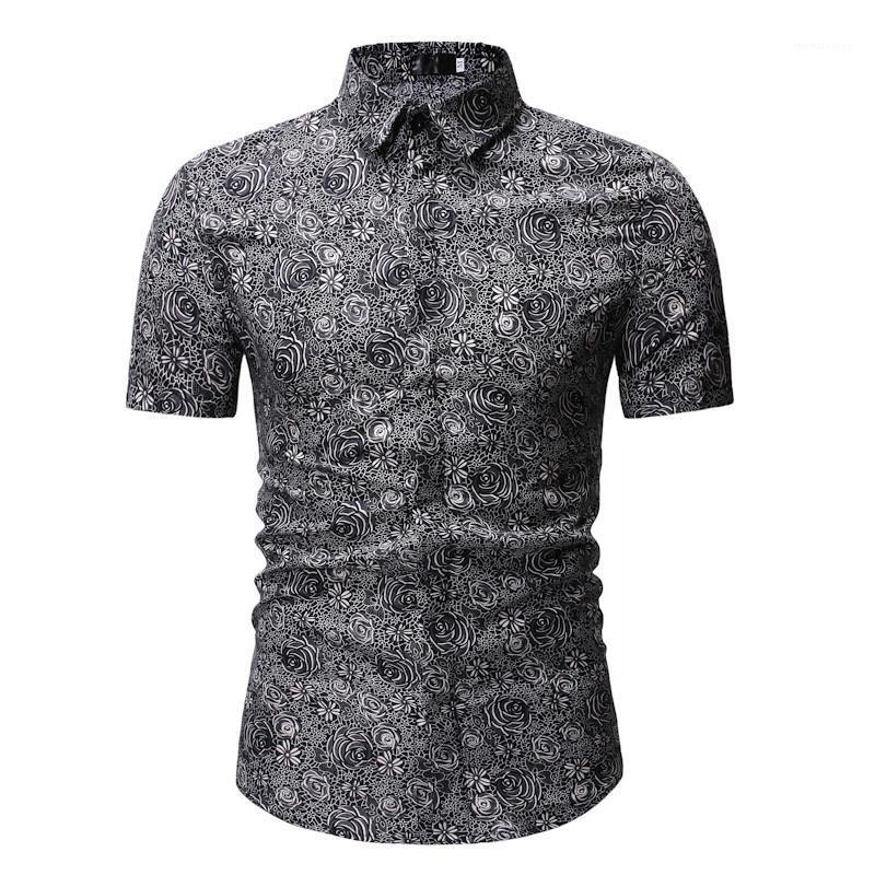 Summer Style de plage Chemise hawaïenne hommes Casual chemise à manches courtes Homme Hauts imprimé floral T-Shirt Mens Designer