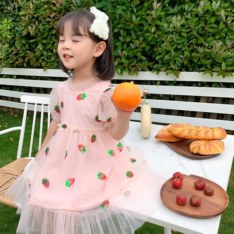 / 2020 été nouvelle jupe filles douce mignonne robe robe de princesse princesse fraise fraise gaze Kq7hl