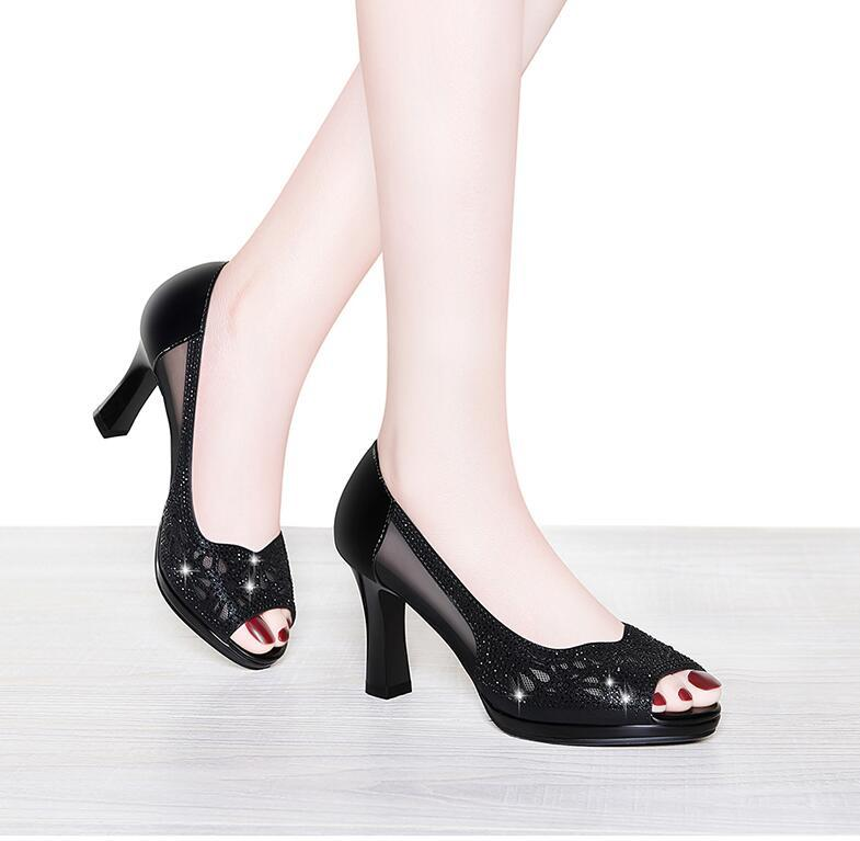 Fishmouth sandals for women chunky Andromeda's summer shoes are versatile with heels and dresses 001