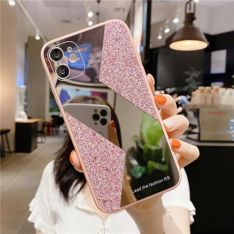 frontière couleur miroir Glitter sexy bling doux en silicone téléphone pour l'iphone 11Pro 7 8 Plus X XS XR MAX mignon couverture maquillage