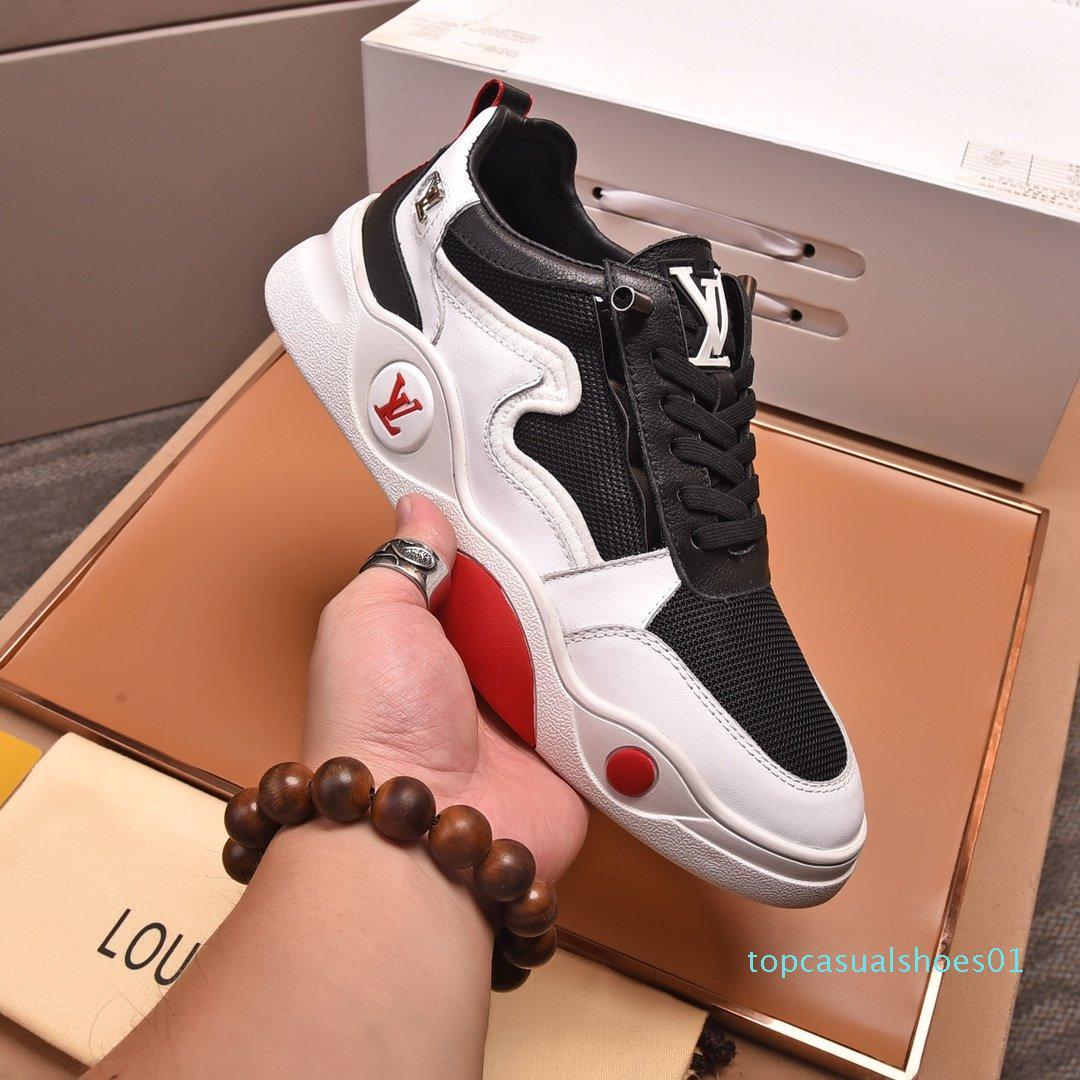 2020 O1 Moda Trend Tasarımcı Erkek Ayakkabı Deri Mesh Nefes Rahat Açık Ayakkabı Dantel-up Casual Yürüyüşçülerden Ayakkabı Erkek Sneakers2 T01