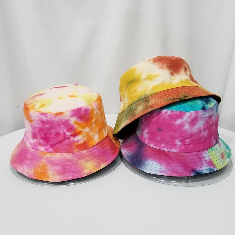 Krawatte Farbstoff-Hut Frauen doppelt angelegte Angelkappen Tie-Farbstoff-flache Fischer-Kappen Sun verhindern Hut Mode Sommer Mann Eimer Hüte