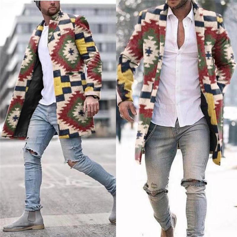 Tasarımcı Streetwear Serin Jacket Kabanlar Man Gökkuşağı Ekose Hendek Coats Moda Trend Yedi renkli Gökkuşağı İnce Uzun Tek Breasted Yün