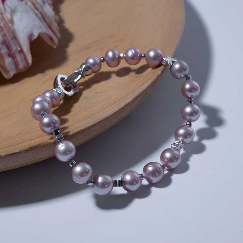 bracelet perle mode coréenne 8-9mm polyvalent bracelet de perles d'eau douce violet simple couche