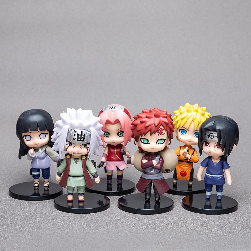 6pcs Naruto Garage Kit Model Set Doll Cute Naruto Sasuke Kakashi I Aro Weasel Decoration Gift Set Action Figures Kids Toys 01