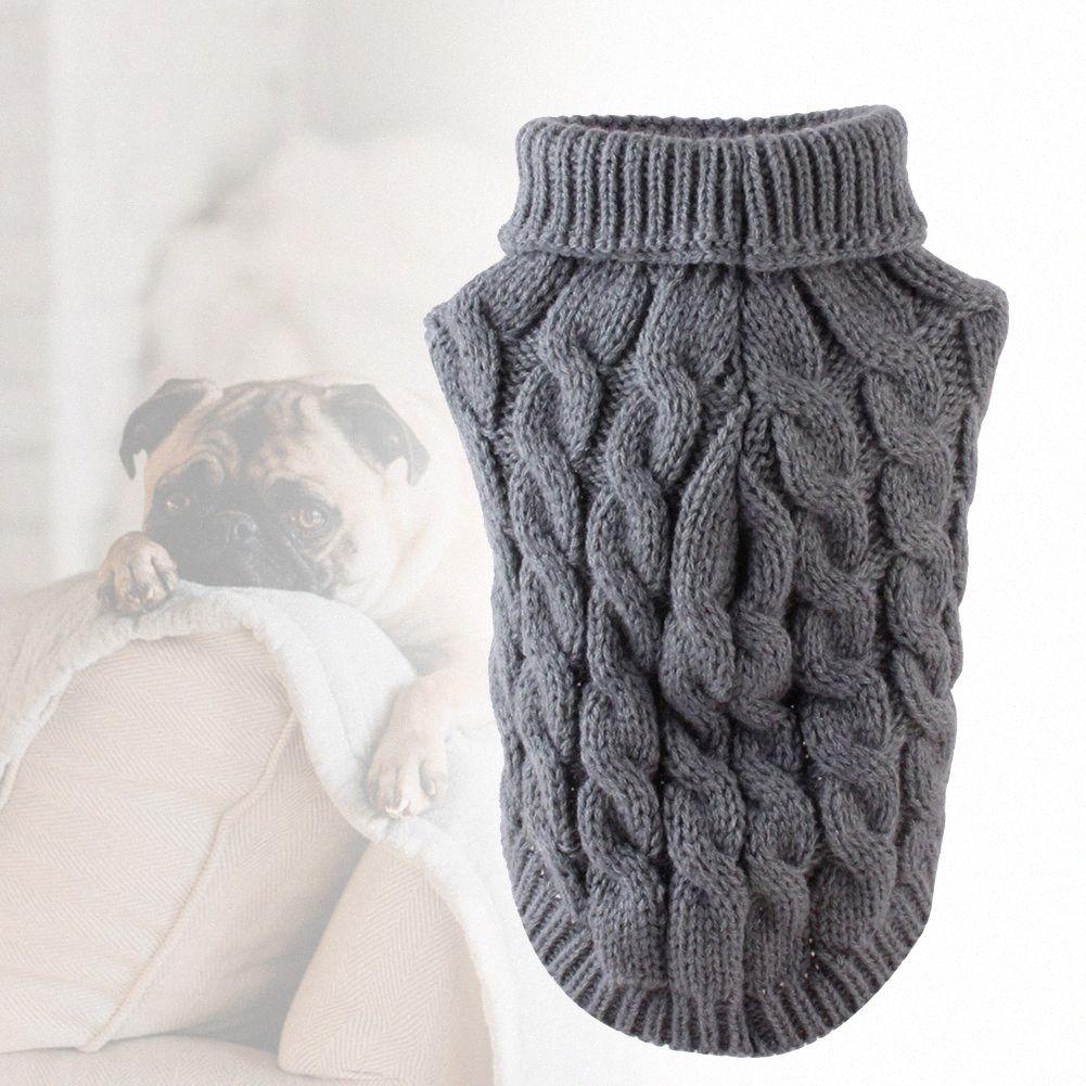 Jersey de cuello alto de otoño suave Jumper moda del perrito de invierno suéter del perro Escudo punto elástico del animal doméstico caliente del gato Suministros UZux #