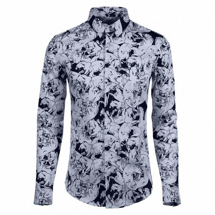 Imprimé luxe hommes Allover Shirt 100% coton blanc Mode d'impression noir Robe Chemise homme Party Hommes Chemises Casual Slim Fit ECxL #