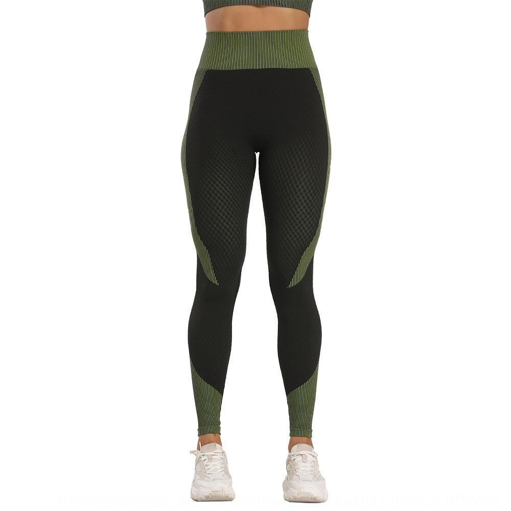 2020 high women's pants women's pants quality vertical bar sexy seamless suction dry fitness yoga trousers for women