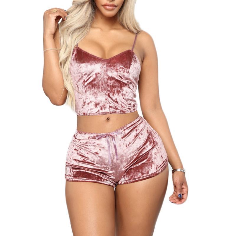 Женские трексуиты Женщины 2 шт. Набор бархатных сонь Sexy Shorts Pajamas костюм дамы повседневная вечеринка розовый