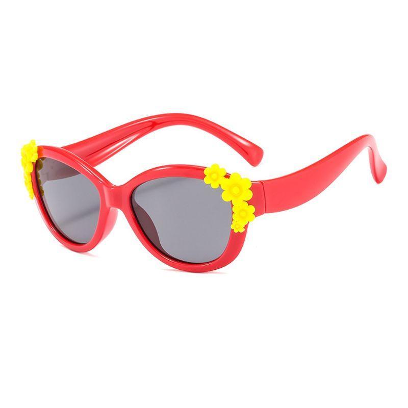 Çocuk Güneş Erkekler Kızlar Çocuk Silikon Emniyet Çiçek Polarize Güneş Gözlükleri A2UA