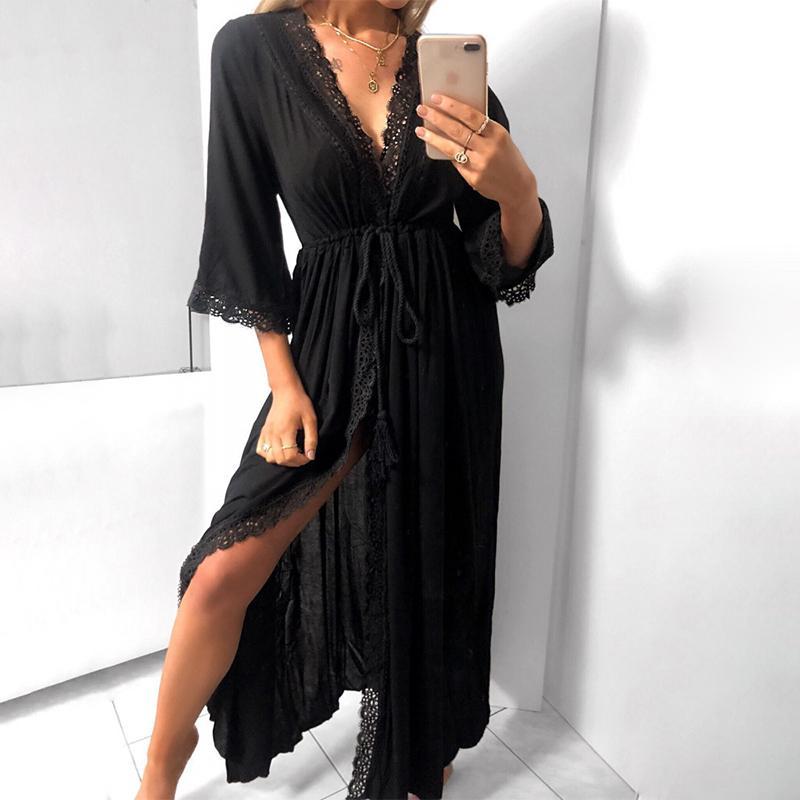 Cinturón de gasa Cardigan atractivos del cordón del vestido de las mujeres suelta con cuello en V de la borla de la manga recortada floral color sólido vestidos de Mujer Primavera 2020